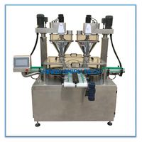 Automatic Tinplate Milk Powder Chicken Powder Bottle Filling Machine 2 Fillers 2 Turning Disk China Manufacturer