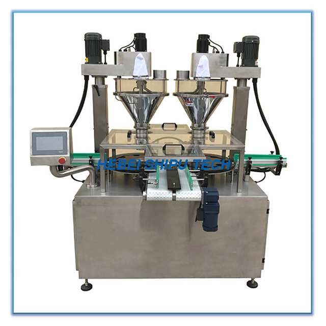 Automatic Spice Powder Bottle Filling Machine 2 Fillers 2 Turning Disk China Manufacturer
